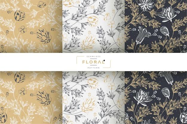 Collection de motifs floraux noirs et dorés dessinés à la main