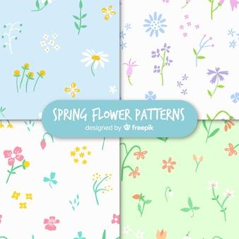 Collection de motifs floraux de printemps dessinés à la main