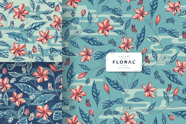 Collection de motifs floraux vintage dessinés à la main