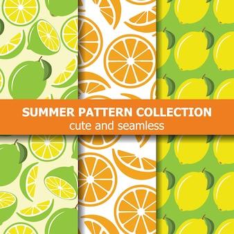 Collection de motifs frais avec des citrons et des oranges.