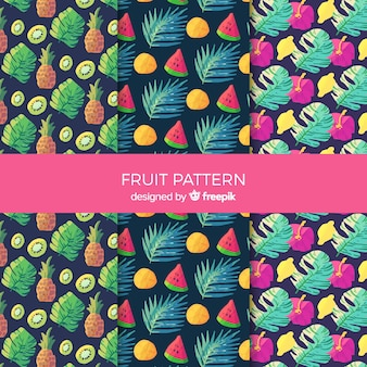 Collection de motifs de fruits tropicaux aquarelle