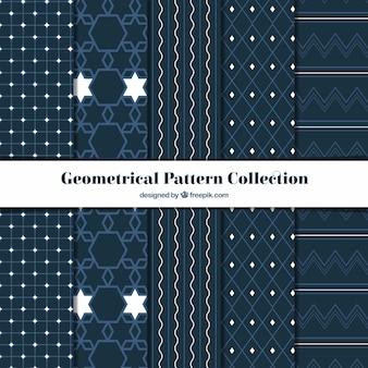 Collection de motifs géométriques avec des détails blancs