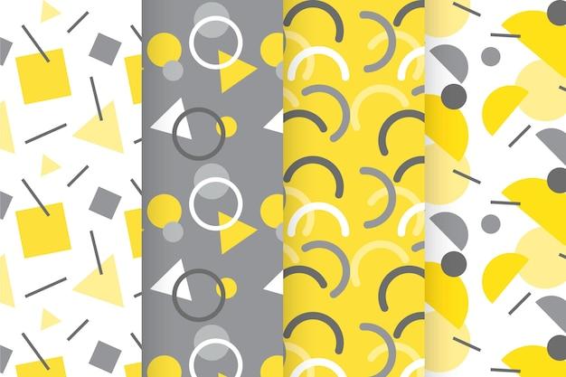 Collection de motifs géométriques jaunes et gris