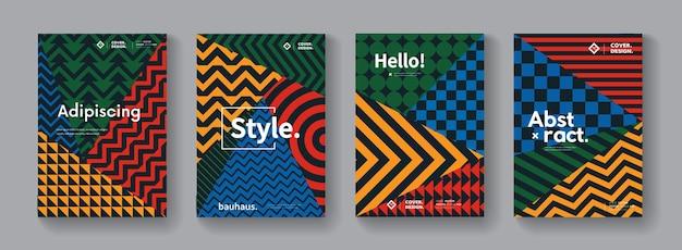 Collection de motifs géométriques de memphis. ensemble d'affiches suisses abstraites.