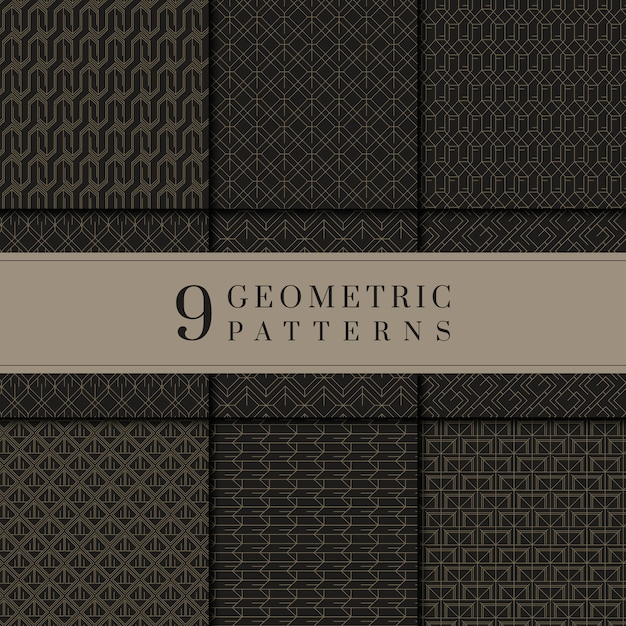 Collection de motifs géométriques noirs et dorés