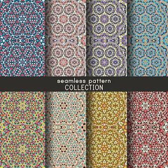 Collection de motifs géométriques sans soudure. ensemble de fond de texture décorative mandala, fond d'écran, toile de fond.