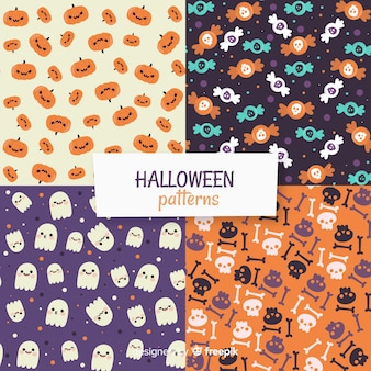 Collection de motifs d'halloween au design plat