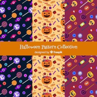 Collection de motifs d'halloween au design plat
