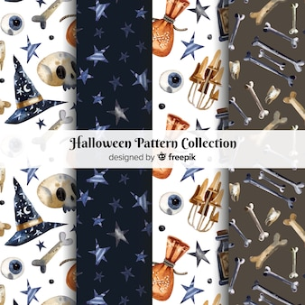 Collection de motifs d'halloween dans un style aquarelle