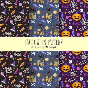 Collection de motifs d'halloween avec un design plat