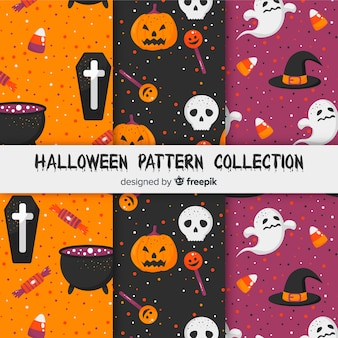 Collection de motifs d'halloween avec un design plat