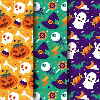 Collection de motifs halloween design plat