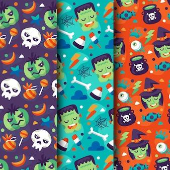 Collection de motifs halloween design plat