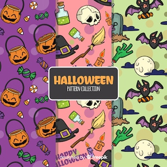 Collection de motifs d'halloween dessinés à la main colorée