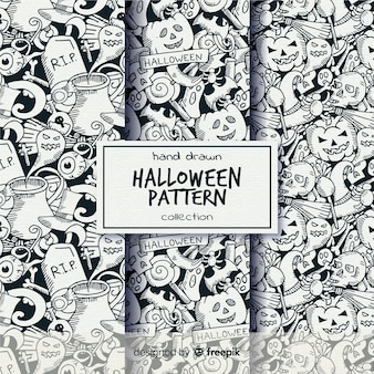 Collection de motifs d'halloween dessinés à la main en noir et blanc