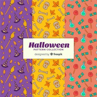 Collection de motifs d'halloween dessinés à la main