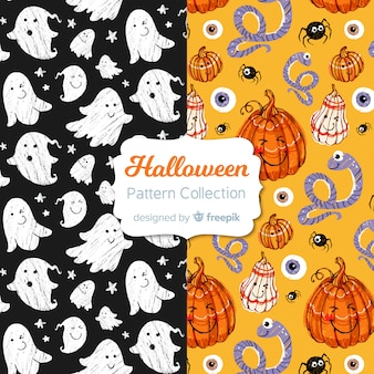 Collection de motifs d'halloween dessinés à la main