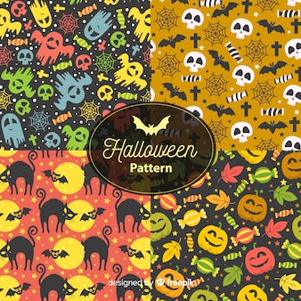 Collection de motifs halloween dessinés à la main