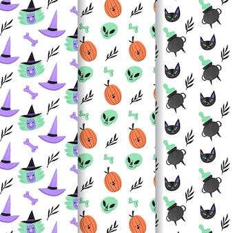 Collection de motifs halloween dessinés à la main