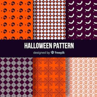 Collection de motifs d'halloween avec un motif géométrique
