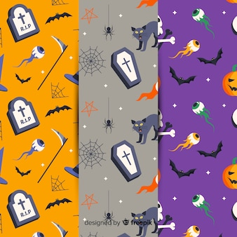 Collection de motifs halloween plats
