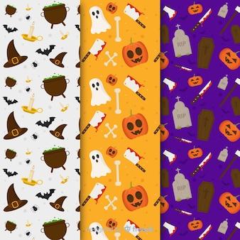 Collection de motifs halloween plats
