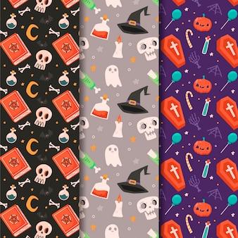 Collection de motifs d'halloween plats