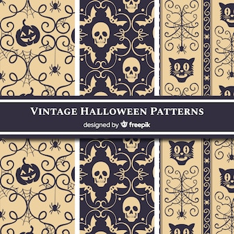 Collection de motifs d'halloween avec un style vintage