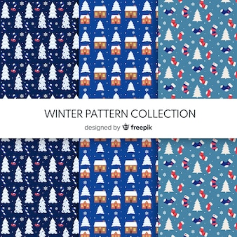 Collection de motifs hiver éléments minuscules
