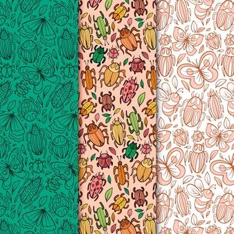 Collection de motifs d'insectes colorés