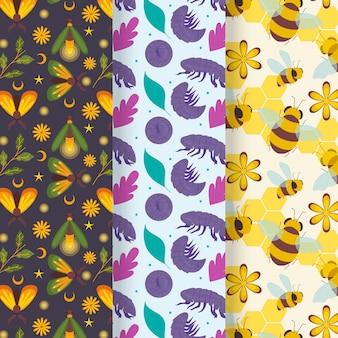 Collection de motifs d'insectes avec des feuilles