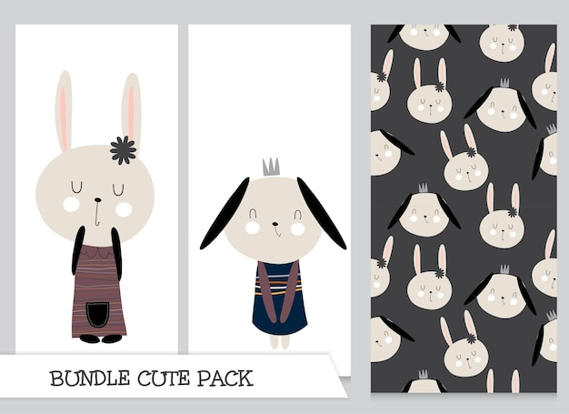 Collection de motifs de lapin plat de dessin animé mignon