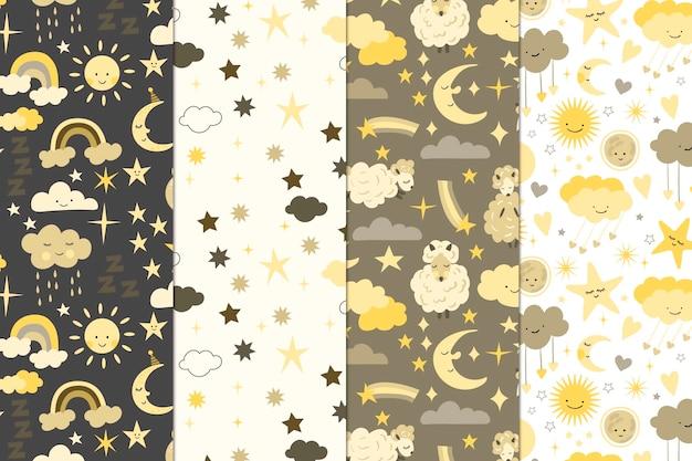 Collection de motifs lune et soleil