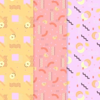 Collection de motifs memphis colorés