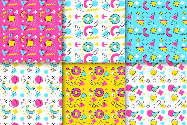 Collection de motifs memphis