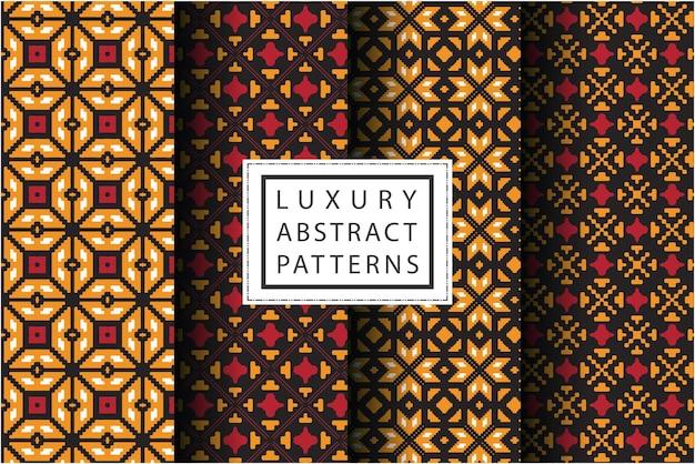 Collection de motifs en mosaïque de couleur dorée