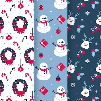 Collection De Motifs De Noël Au Design Plat Vecteur gratuit