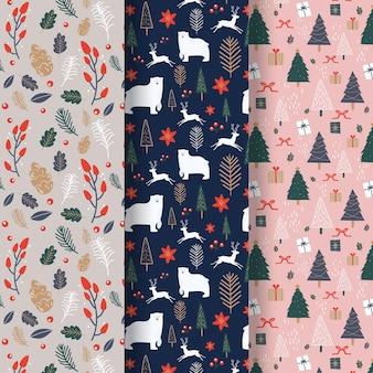 Collection de motifs de noël au design plat