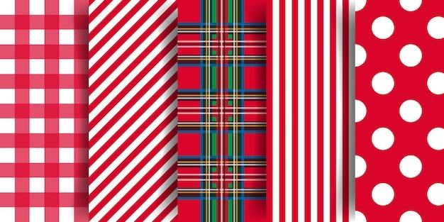Collection de motifs de noël coloré avec dessin géométrique