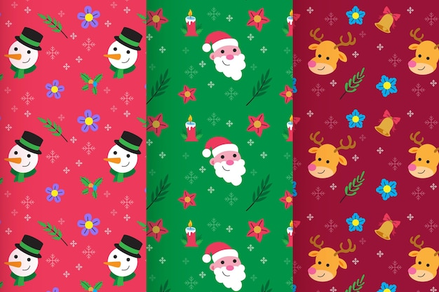 Collection De Motifs De Noël Design Plat Vecteur gratuit
