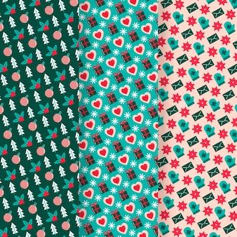 Collection de motifs de noël design plat