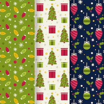 Collection de motifs de noël design plat