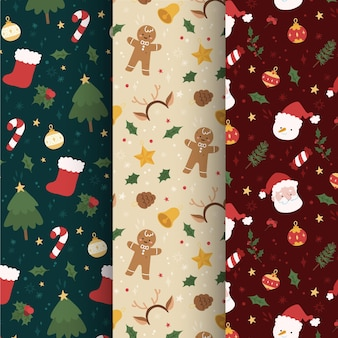 Collection de motifs de noël dessinés à la main
