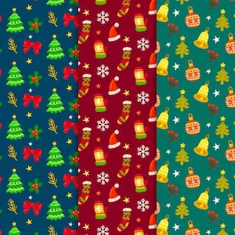 Collection De Motifs De Noël Dessinés à La Main Vecteur Premium