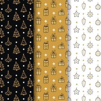 Collection de motifs de noël dorés