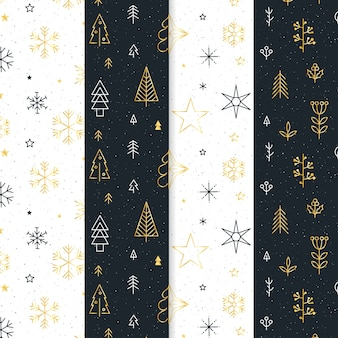 Collection de motifs de noël noir et or