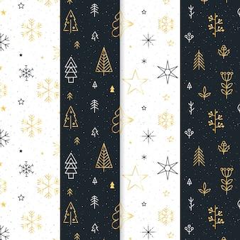 Collection de motifs de noël noir et or