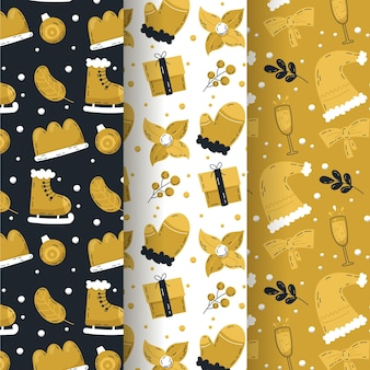 Collection de motifs de noël noirs et dorés
