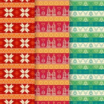 Collection de motifs de noël plat