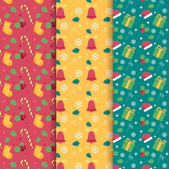 Collection de motifs de noël plats dessinés à la main